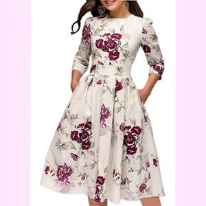 🆕 Vintage Elegant Midi Evening Dress